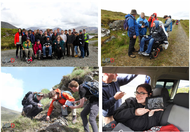 quad image showing various outdoor scenes of disabled persons doing geoscience with The IAGD