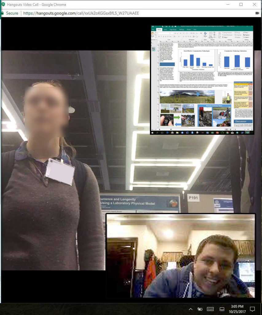 Computer Screenshot showing a live view of a conference attendee, a student answering questions remotely, and an inset showing a screen share of a portion of the student's poster.