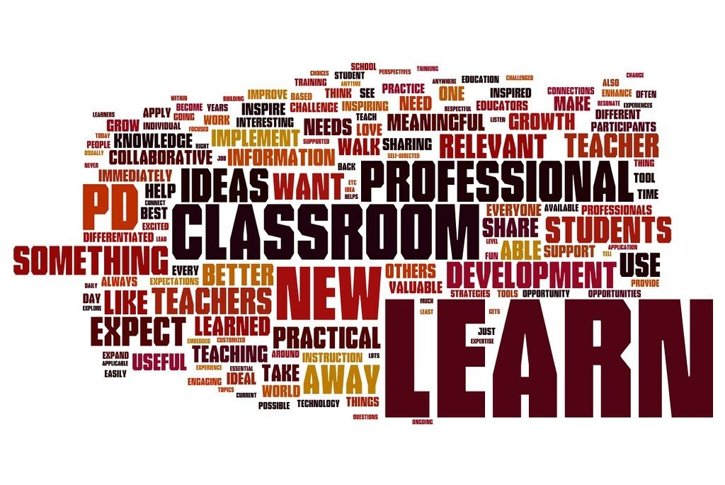 A word cloud of professional development for students including the words learn, classroom, new, ideas, relevant and growth
