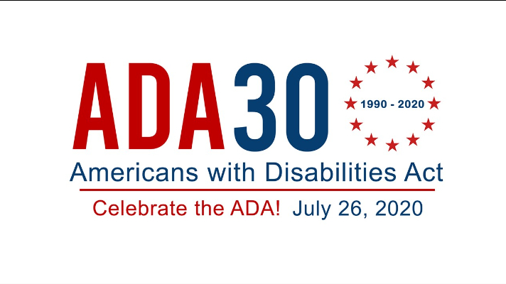 Red and blue graphic that says celebrate the ADA 1990-2020!